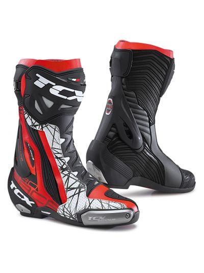 Motoristični športni škornji TCX RT-RACE PRO AIR - črni/rdeči/beli