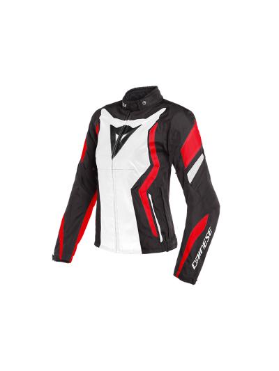 DAINESE EDGE Lady ženska tekstilna jakna - črna/bela/lava rdeča