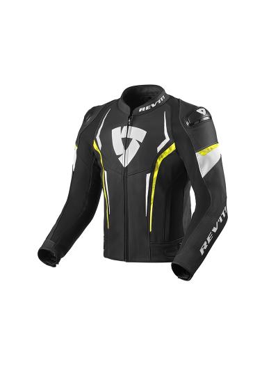 REV'IT GLIDE usnjena motoristična jakna - črna/neon rumena