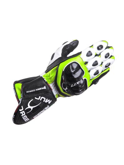 MugenRace BORNEW moške motoristične rokavice - bele / fluo rumene