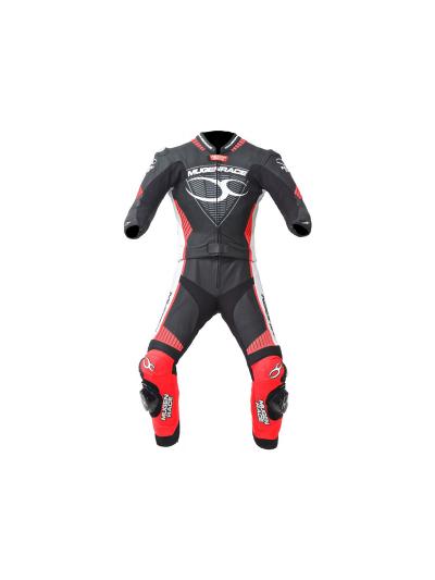 MugenRace 1711 moški dvodelni motoristični kombinezon - črn / bel / rdeč
