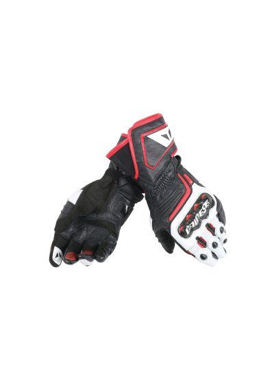 DAINESE CARBON D1 LONG usnjene motoristične rokavice - črne/bele/rdeče