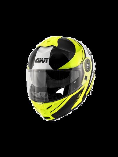 GIVI X.21 CHALLENGER GRAPHIC GLOBE Preklopna motoristična čelada - mat črna/rumena