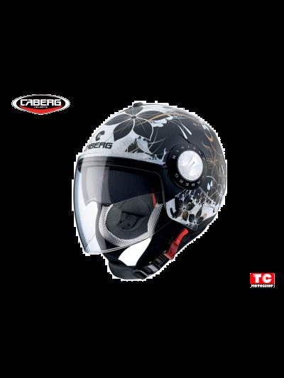 RIVIERA V3 FLORAL DEMI JET - CABERG motoristična odprta čelada - mat č/be/zl
