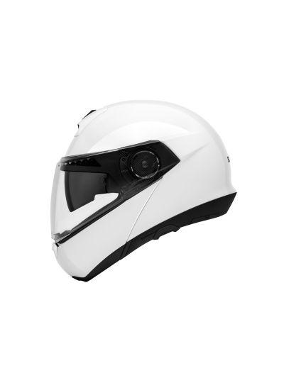 C4 WHITE GLOSY Motoristična preklopna čelada / bela