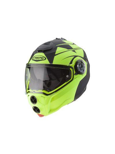 CABERG DROID PATRIOT Motoristična preklopna čelada - mat črna/fluo
