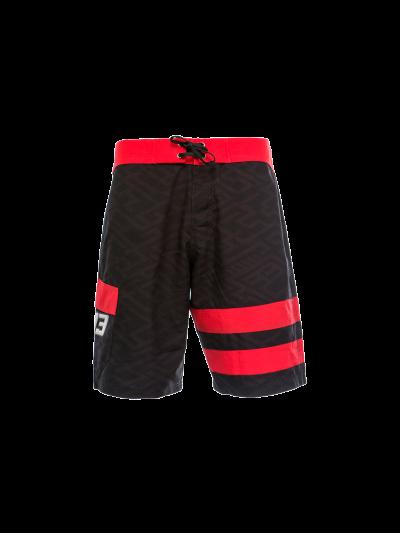 Moške kopalne hlače MM93 - črne/rdeče