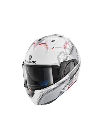 SHARK EVO-ONE 2 KEENSER Motoristična preklopna čelada - bela/srebrna/rdeča
