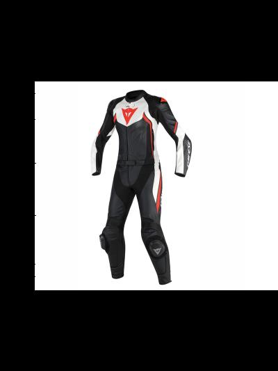 DAINESE AVRO D2 LADY Dvodelni ženski usnjeni motoristični kombinezon - črn/bel/rdeč