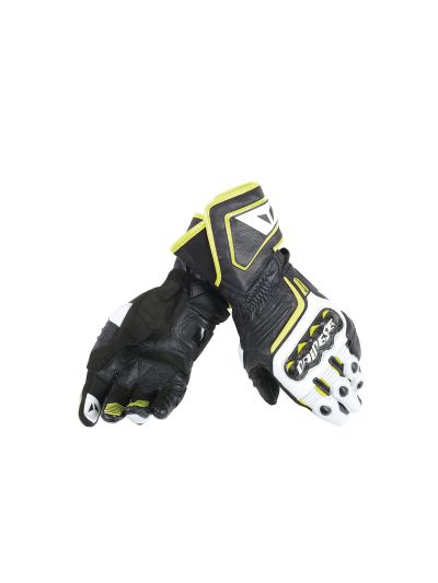 DAINESE CARBON D1 LONG usnjene motoristične rokavice - črne/bele/fluo rumene