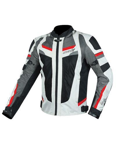 Motoristična jakna poletna ATROX Summer 2308 - bela / siva / rdeča / črna