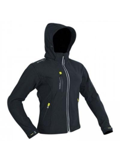 Ženska motoristična soft-shell jakna ATROX CE-2774 - črna / fluo rumena
