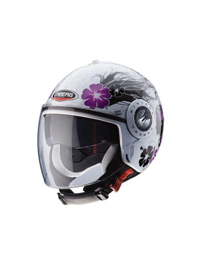 CABERG RIVIERA V3 DIVA Motoristična odprta čelada - bela / srebrna