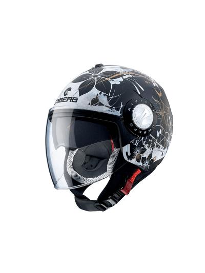 CABERG RIVIERA V3 FLORAL Motoristična odprta čelada - mat črna / bela / zlata