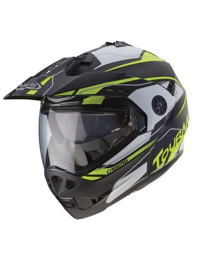 CABERG TOURMAX MARATHON Motoristična preklopna čelada - mat črna/bela/fluo rumena
