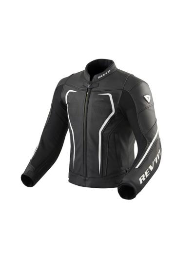 Usnjena motoristična jakna REV'IT VERTEX GT - črno/bela