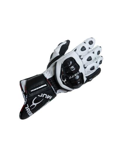 MugenRace BORNEW moške motoristične rokavice - bele / črne