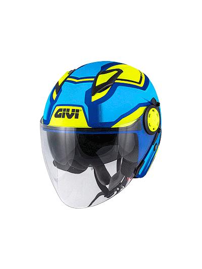 Jet motoristična čelada GIVI 12.3 Stratos Shade - modra/rumena