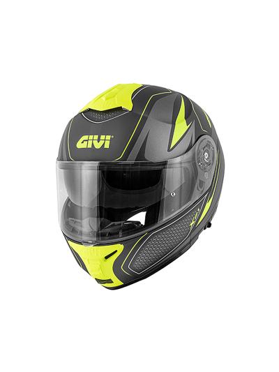 GIVI X.21 CHALLENGER SHIVER preklopna motoristična čelada - mat črna / titan / fluo rumena