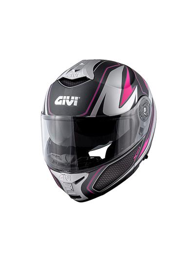 GIVI X.21 CHALLENGER SHIVER preklopna motoristična čelada - titan/fuksija