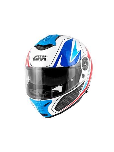 GIVI X.21 CHALLENGER SHIVER preklopna motoristična čelada - bela / modra / rdeča