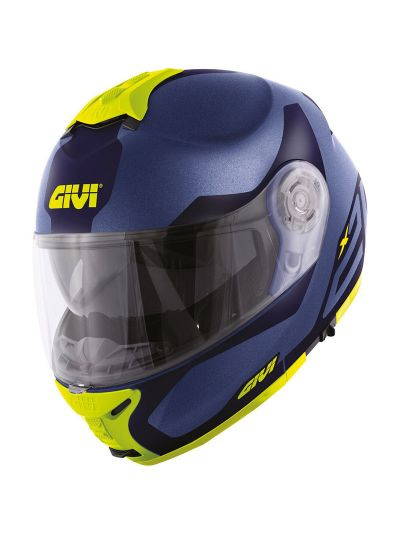 GIVI X.21 CHALLENGER SPIRIT preklopna motoristična čelada - mat modra / fluo rumena