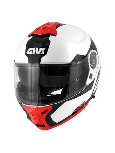 GIVI X.21 CHALLENGER SPIRIT preklopna motoristična čelada - bela / črna / rdeča