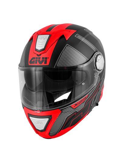 GIVI X.23 SYDNEY PROTECT motoristična preklopna čelada - črna/rdeča