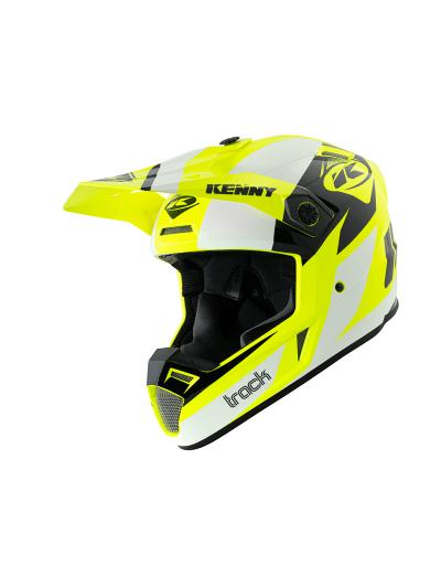 Motoristična kros čelada Kenny Racing TRACK VICTORY 04 - bela / neon rumena