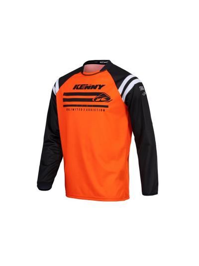 Otroška MX majica Kenny Racing TRACK RAW KID - neon oranžna / črna
