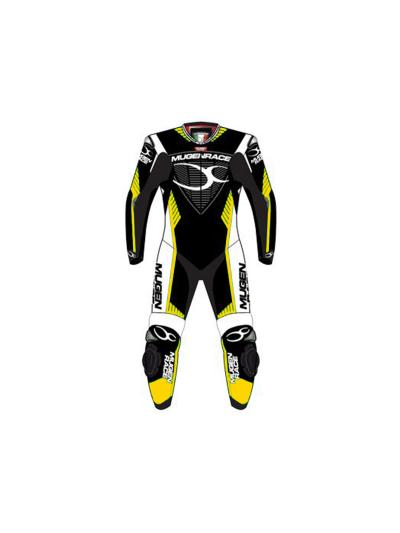 Enodelni motoristični kombinezon Mugen Race 1701 - črn/bel/rumen