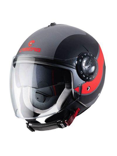 CABERG RIVIERA V3 SWAY Motoristična odprta čelada - gunmetal / črna / fluo oranžna
