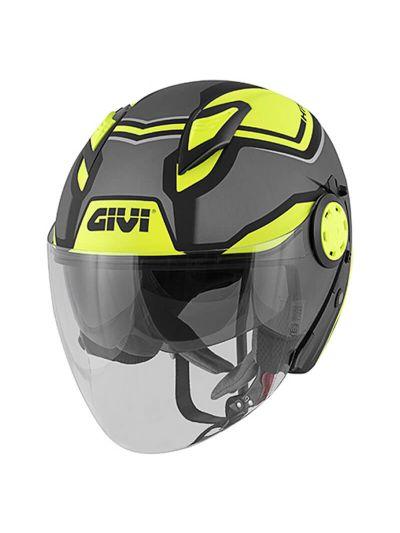 Jet motoristična čelada GIVI 12.3 Stratos - titan/črna/rumena