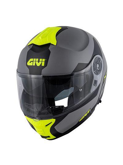 GIVI X.21 CHALLENGER SPIRIT preklopna motoristična čelada - mat siva / črna / fluo rumena