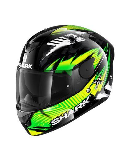SHARK D-SKWAL 2 PENXA motoristična integralna čelada - zelena / rumena / črna / bela