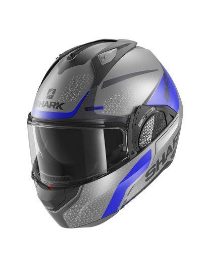 SHARK EVO GT ENCKE MAT motoristična preklopna čelada - siva / modra