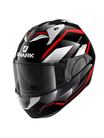 SHARK EVO ES YARI motoristična preklopna čelada - črna / rdeča / bela
