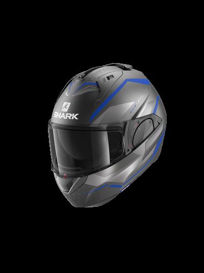 SHARK EVO ES YARI motoristična preklopna čelada - antracit/modra/srebrna