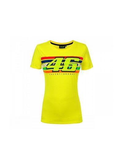 Ženska majica s kratkimi rokavi 46 Stripes VR46 - rumena