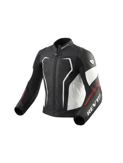Usnjena motoristična jakna VERTEX GT črno/rdeča