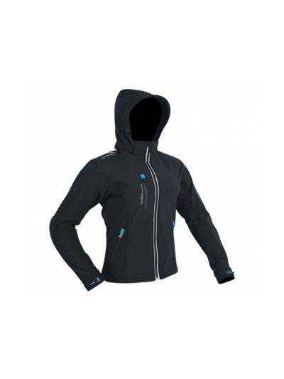 ATROX Soft-Shell ženska motoristična tekstilna jakna - črna/sky modra