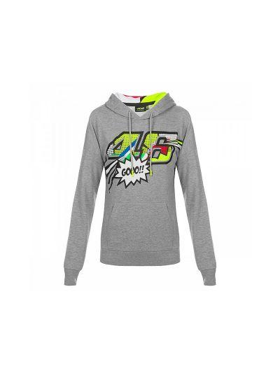 Ženski pulover s kapuco Pop Art VR46 - siv