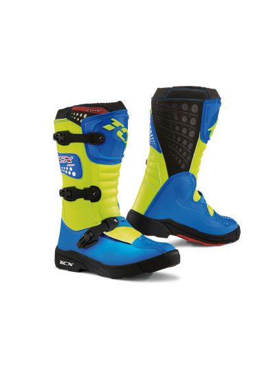 TCX cross motoristični škornji Comp Kid Royal modri + rumeni