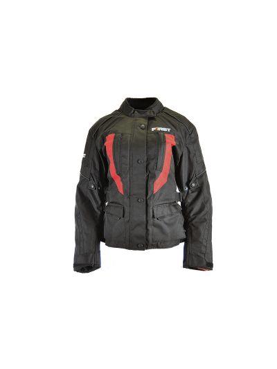 Ženska motoristična tekstilna jakna FIRST JACKY Lady črno/rdeča