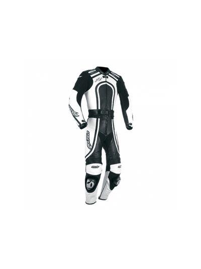 ATROX usnjen ženski dvodelni kombinezon - črno/bel