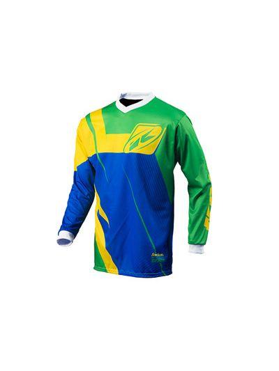 Kenny Racing TRACK motoristična motocross majica - zelena / modra / rumena  (velikost 3XL)