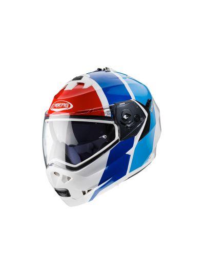 CABERG DUKE II IMPACT Motoristična preklopna čelada - bela/rdeča/modra