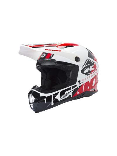KENNY RACING TRACK motoristična cross čelada - bela/črna/rdeča