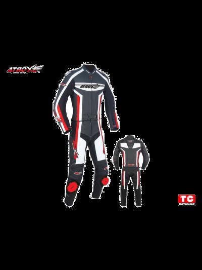 ATROX usnjen dvodelni moški motoristični kombinezon - črno/belo/rdeč