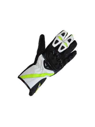 ATROX Usnjene in tekstilne motoristične rokavice - črne/sive/fluo zelene